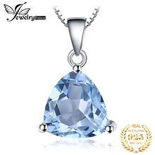 Classic Trillion 2.2ct Natural Sky Blue Topaz Real Pure 925 Sterling Silver Pendants For Women Fashion Brand Jewelry 2015 New
