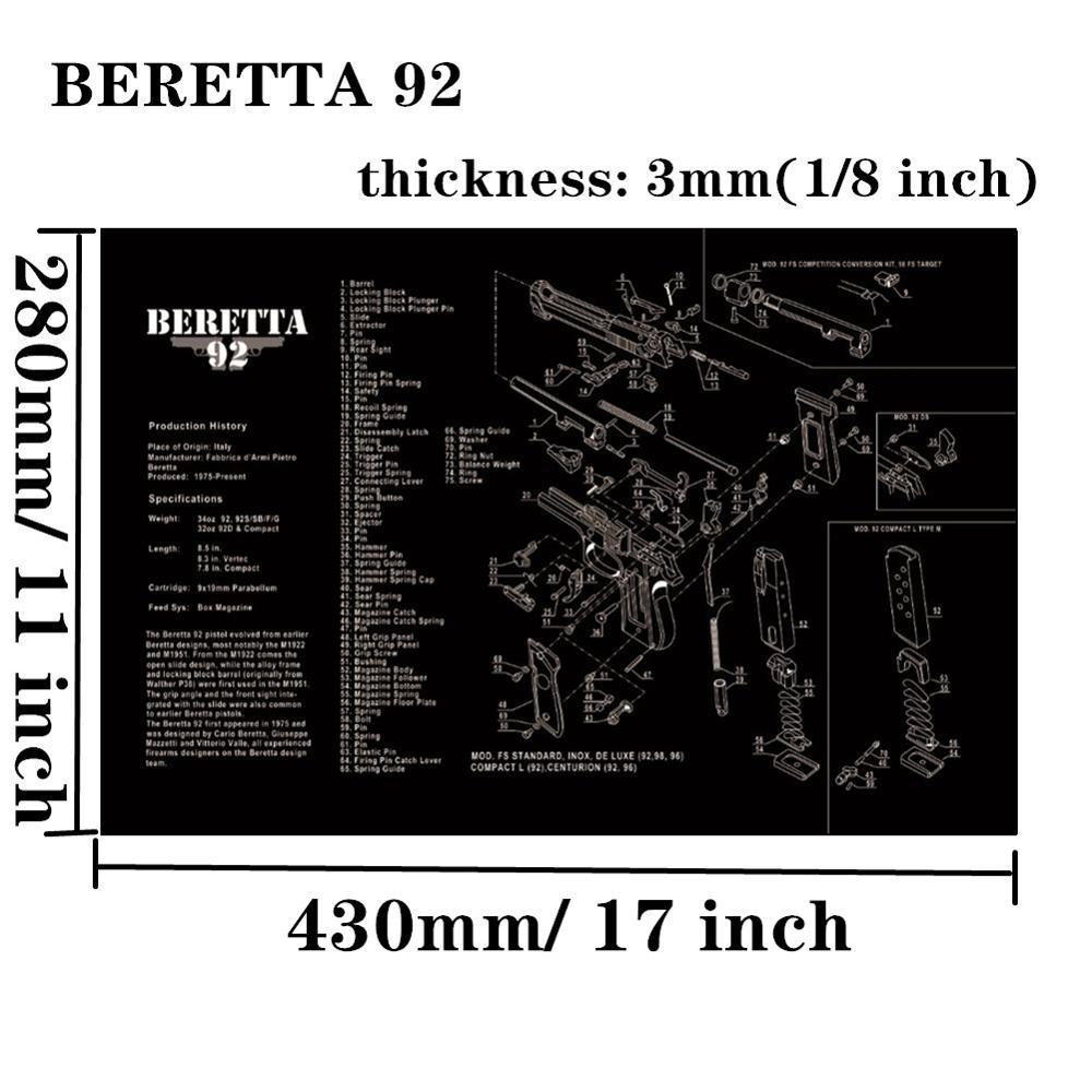 Большой чистящий коврик для ружья AR15 AK47 Glock 1911 SIG винтовка пистолет оружейный оружейник разборка ремонт набор инструментов для сборки скамьи колодки - Цвет: Beretta 92