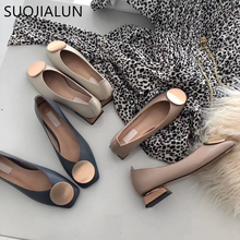 SUOJIALUN 2019 New Brand Round Buckle Low Heels Women Shoes  Low Wooden Low Heel Ballet Square Toe Shallow Slip On Loafers недорого
