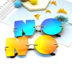 Letter NO Sunglasses Luxury Brand Designer Women Metal Sun glasses Ladies Trend Sunglass UV400 Shades gafas de sol Eyewear
