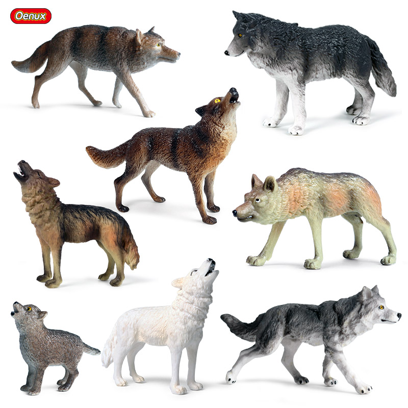 Oenux Original Wild Beast Animals Gray Wolf Simulation Baby Wolves Action Figures Collection Lifelike PVC High Quality Model Toy