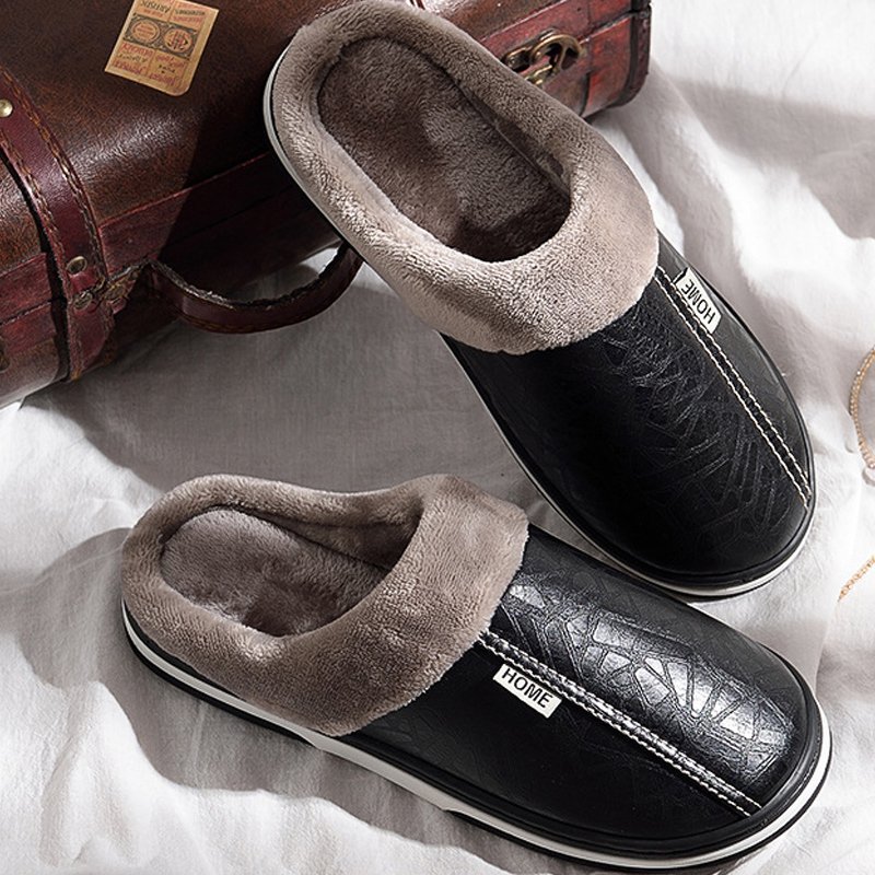 2019 Men's Winter Slippers Non-slip Indoor Shoes For Men Leather Big Size 45 House Shoe Waterproof Warm Memory Foam Slipper