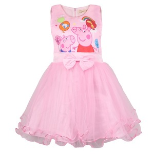 Peppa Pig princesa vestido de fiesta de manga corta vestido de verano para niña para cumpleaños Cosplay disfraz niños ropa de niño