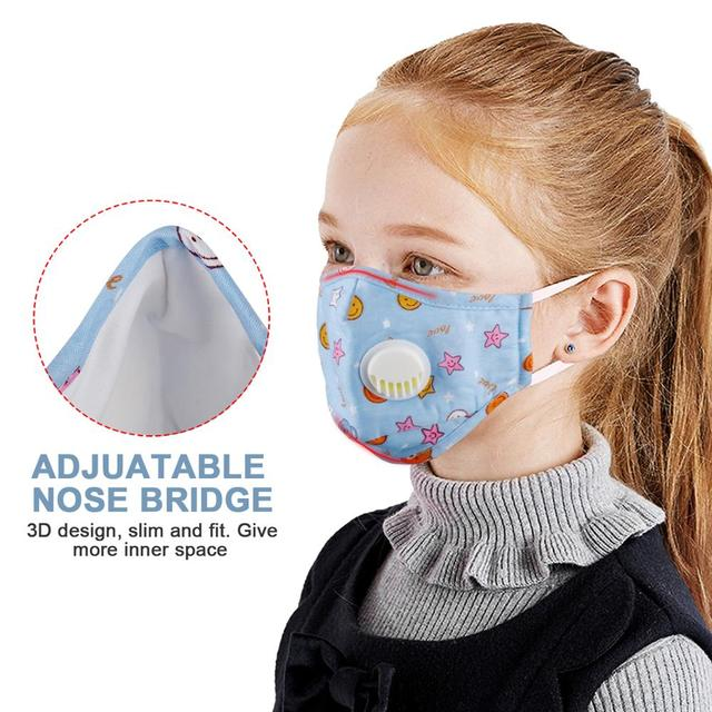 Kids Cotton Mouth Face Mask With 10pcs PM2.5 Breathing Valve Anti dust Anti Flu Mask Respirator Adjustable Children Mask 2