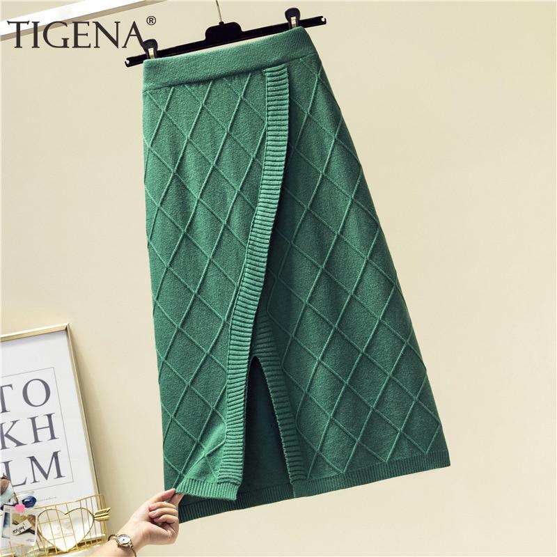 TIGENA Fashion Split Knitted Midi Skirt Women 2019 Autumn Winter Korean Warm A-line High Waist Knee Length Skirt Female Ladies