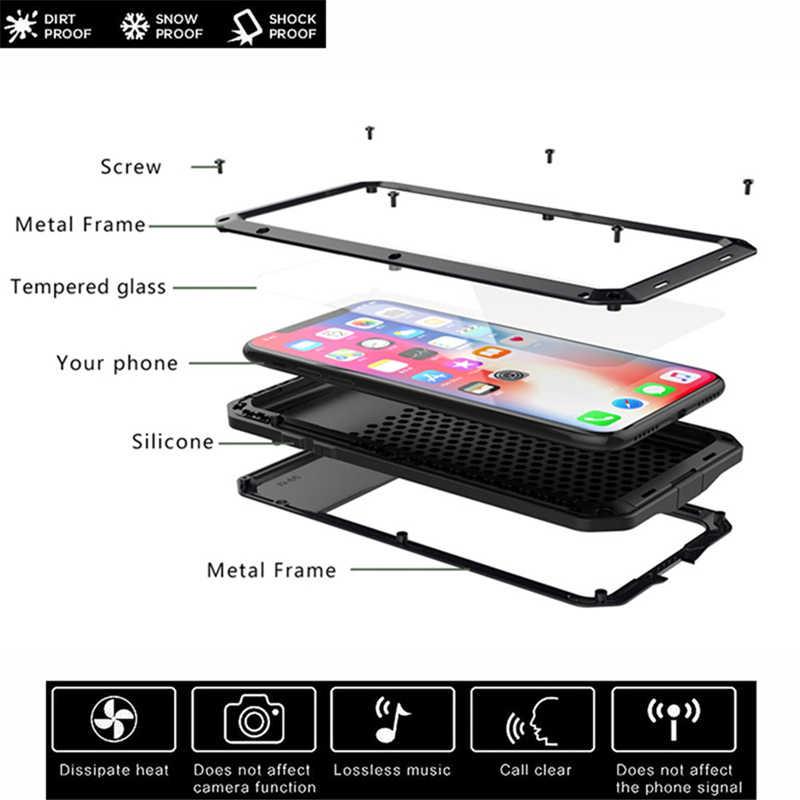 Heavy Duty Protezione armatura Cassa Del Telefono di Alluminio del Metallo per il iPhone 11 Pro XS MAX SE 2 XR 6 6S 7 8 più di X 5 5S Antiurto Doom Copertura