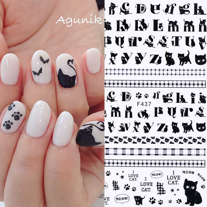 1 Sheet Nail Stickers The Cat Letter Mixed Patterns Black Color Nail Transfer Decals 3D Nail Art DIY Design Decoration