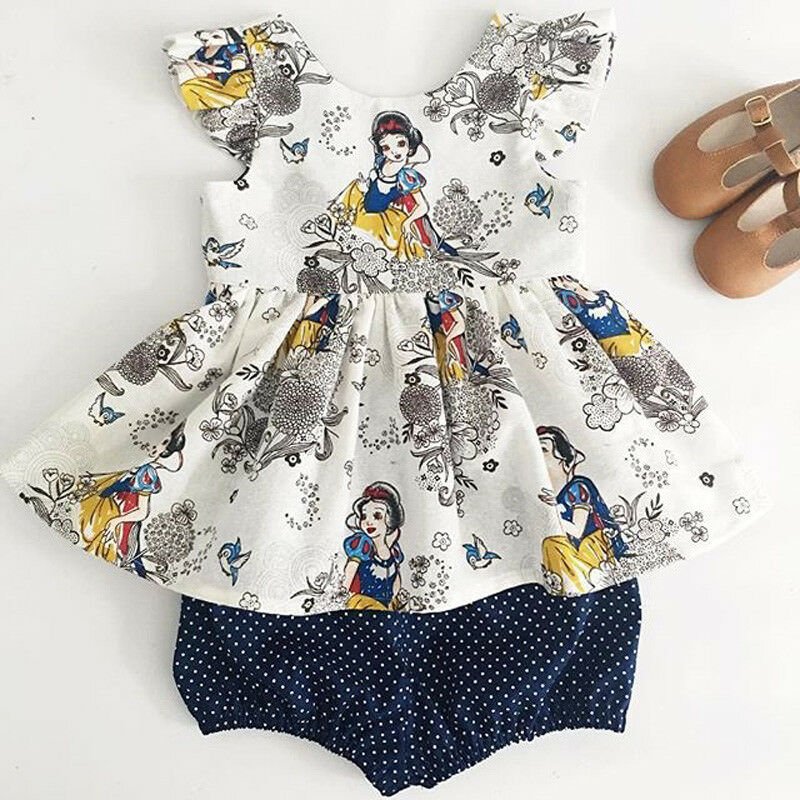 Imcute 2Pcs Floral Printing Cartoon Snow White Characters Baby Girls Clothes Set Outfits Short Sleeve T Shirt+Shorts Pants