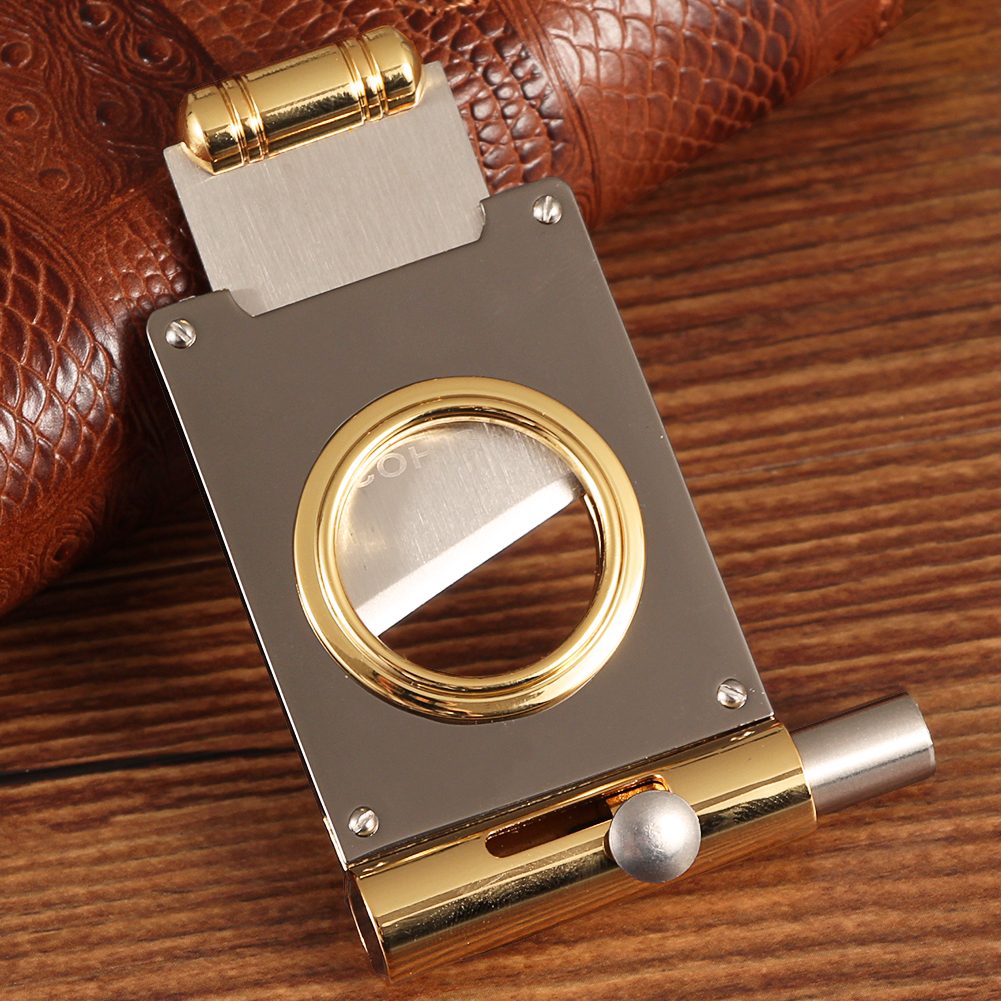 COHIBA Cigars Cutter Punch Pocket Metal Cigar Cutter Sharp Blade Stainless Steel Cigar Guillotine Portable Cigar Punch