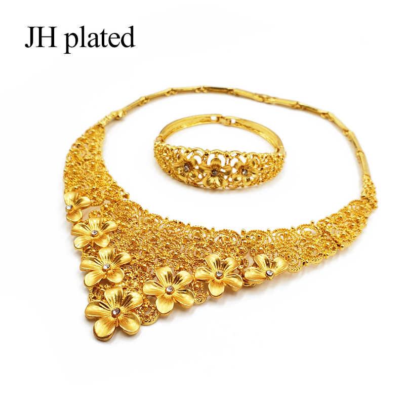 ดูไบ gold ชุดเครื่องประดับแอฟริกันเจ้าสาวงานแต่งงานของขวัญผู้หญิง Saudi Arab สร้อยคอสร้อยข้อมือต่างหูแหวนชุด collares เครื่องประดับ
