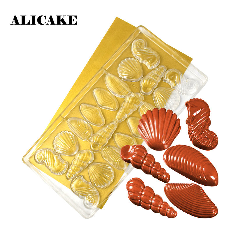 Polycarbonate Chocolate Bar Mold Plastic Scallop Conch Chocolate Form Mould Baking Pastry Tools Cake Decoration Bakery Tools