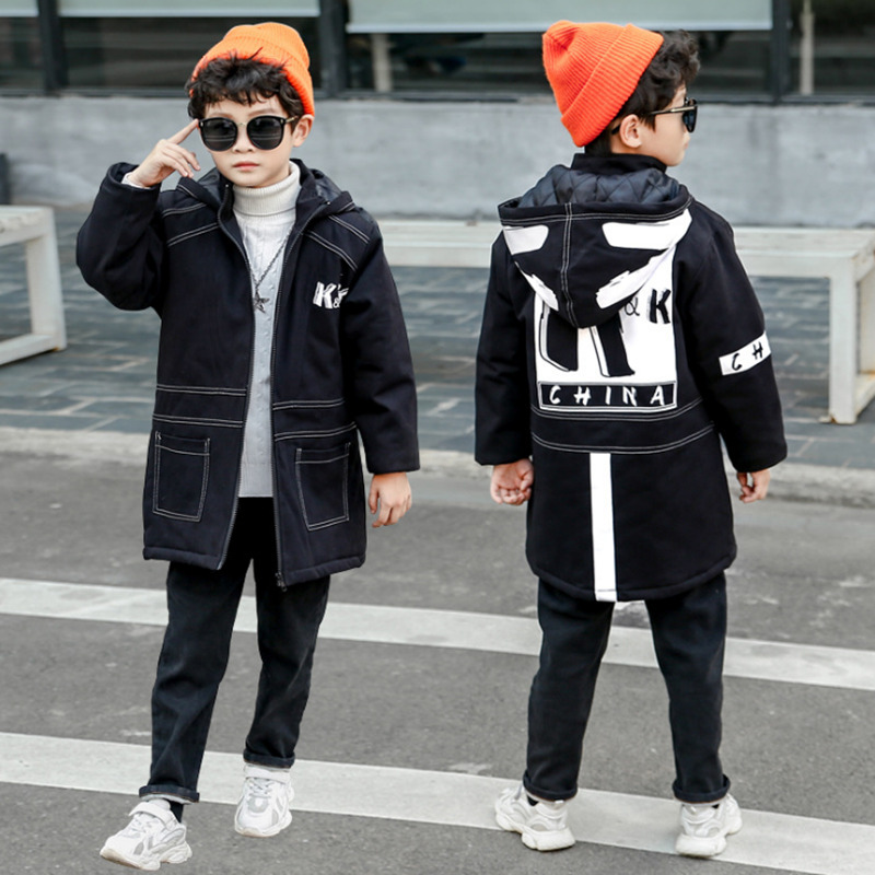 Black Jacket 12 Children's Clothing 13 Boys 14 Winter Clothing 15 Jacket New Thick Cotton Thickening 10 Years Old Children