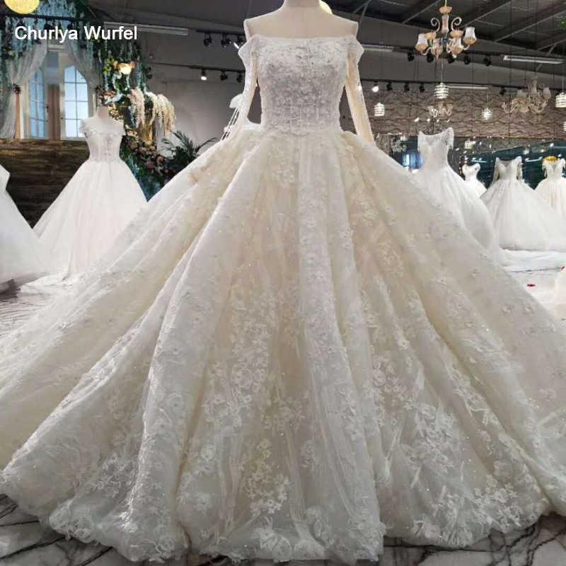 LSS016 יוקרה אלגנטי crytal חתונת שמלות כבוי כתף תחרה עד בחזרה פרח בתוספת גודל חתונה עם ארוך רכבת 2018
