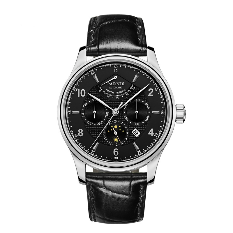 Parnis 42mm Automatic Watch Moon Phase Power Reserve Watch Men Luxury Brand Top Miyota Mechanical Winder Watch PA6062-A Gift Men