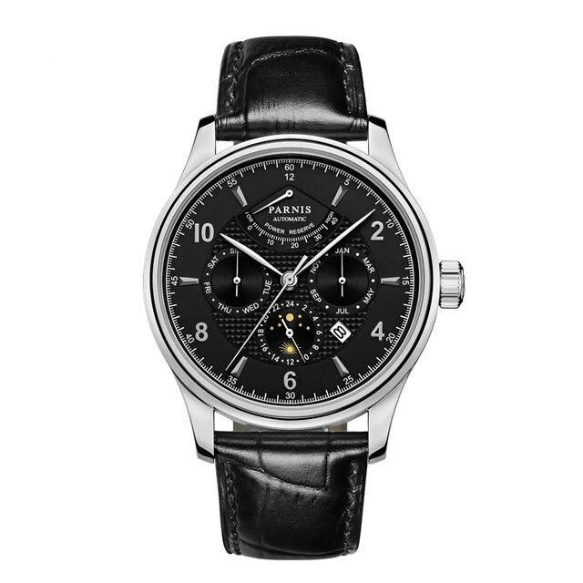 Parnis 43 มม.นาฬิกาอัตโนมัติ Moon Phase Power Reserve นาฬิกาผู้ชายแบรนด์หรู Miyota Mechanical Winder นาฬิกา PA6062 A ของขวัญผู้ชาย