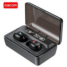 Dacom t8 fones de ouvido bluetooth tws fones de ouvido sem fio com microphon, músicas comutáveis, display de carregamento led para iphone samsung