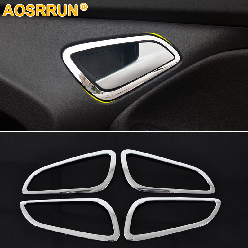 For Ford Focus 3 2012 2013 2014 Car Accessories Inside Chrome Door Handle Cover Trim Auto Parts