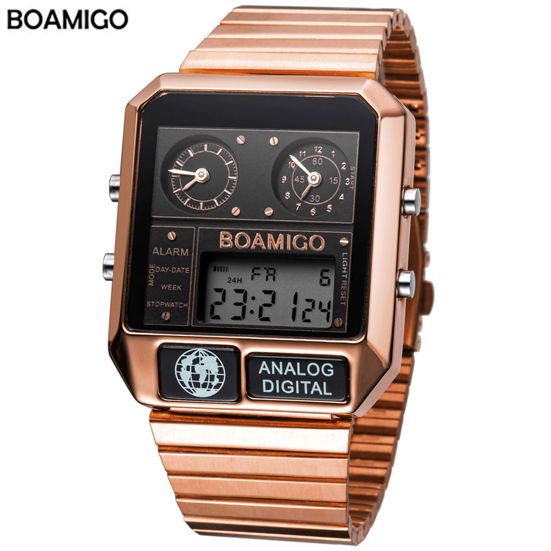 BOAMIGO Top Brand Luxury Men Sports Watches Man Fashion Digital Analog LED Watches  Square Quartz Wristwatches Relogio Masculino