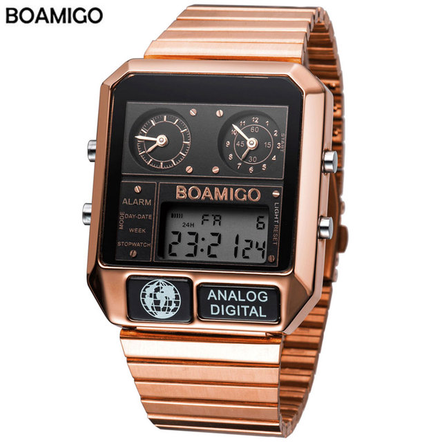 BOAMIGO top brand luxury men sports watches man fashion digital analog LED watches  square quartz wristwatches relogio masculino