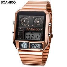 BOAMIGO أفضل العلامة التجارية الفاخرة الرجال الساعات الرياضية رجل الموضة الرقمية التناظرية LED الساعات مربع الكوارتز ساعات المعصم relogio masculino