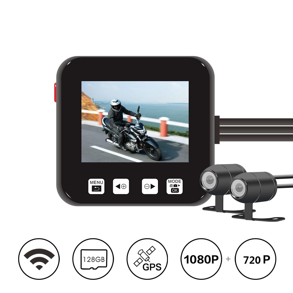 2019 Newest Waterproof Lens Motorcycle Dashcam DVR M6Lg Wi-Fi Dual 1080p FHD 720P Camera