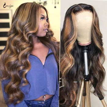 UWIGS 4/27 Highlight Wig Brazilian Body Wave Wig Highlight Lace Front Human Hair Wigs Honey Blonde Ombre Lace Front Wig Remy
