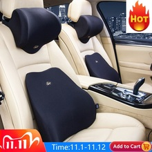 Car Lumbar Support Cushion Car Cushion Memory Foam Polyester Backrest Pad Orthopedic Cushion Relieve Pain soft comfort