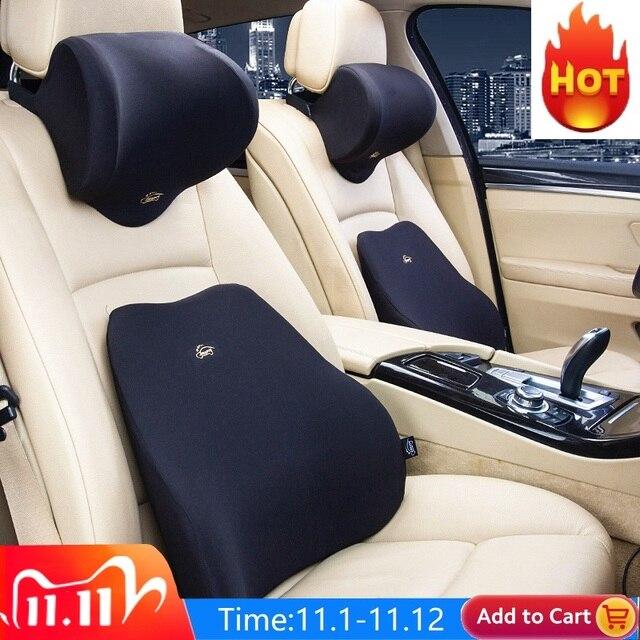 Car Lumbar Support Cushion Car Cushion Memory Foam Polyester Backrest Pad Orthopedic Cushion Relieve Pain soft comfort