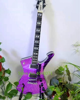 Free delivery, purple, gold, natural mirror cracks, Paul Stanley 6 string electric guitar, customizable, customized photos of ot