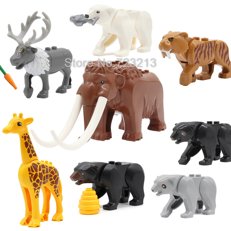 Single Animal Legoinglys Mammoth Wolf Horse Elk Sven Victor Creed Polar Bear Giraffe Building Blocks Bricks Educational Toys