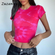 Zuzanny batik kısa kollu gömlek kadın seksi kırpma üstleri Streetwear 2021 yaz O boyun degrade rahat kadın T Shirt