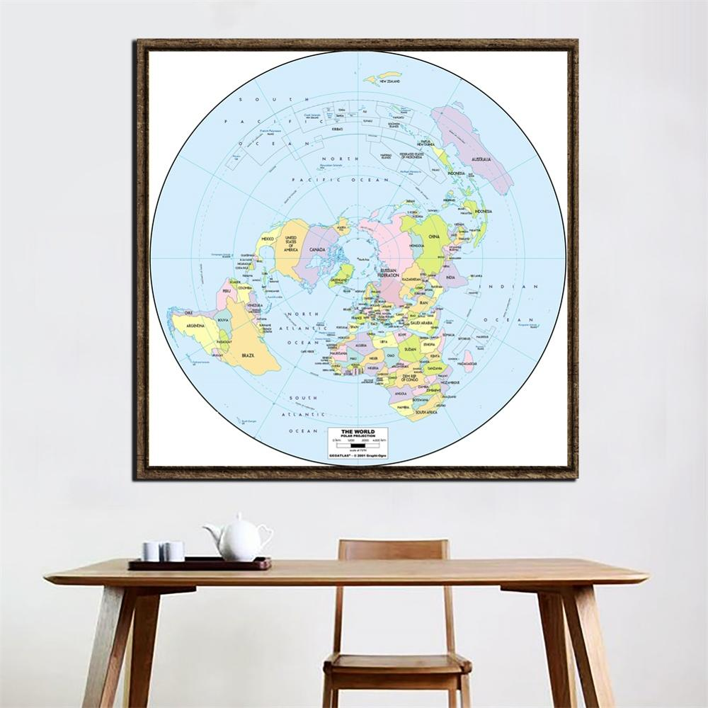 2ftx2ft Classic World Map Polar Projection 2001Version World Map For Home Living Room Wall Decor