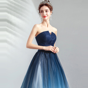 It's YiiYa Prom Gowns Blue Sleeveless Strapless A-Line Floor Length Long Party Dress Custom Plus Size Prom Dresses 2019 E263 5
