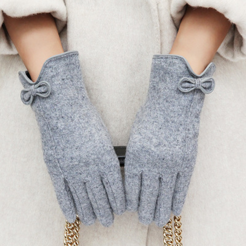 Winter Touch Gloves Cashmere Wool Mitten Gloves Female Bow Leather Knit Embroidery Driving Winter Glove Touch Screen Gloves E38
