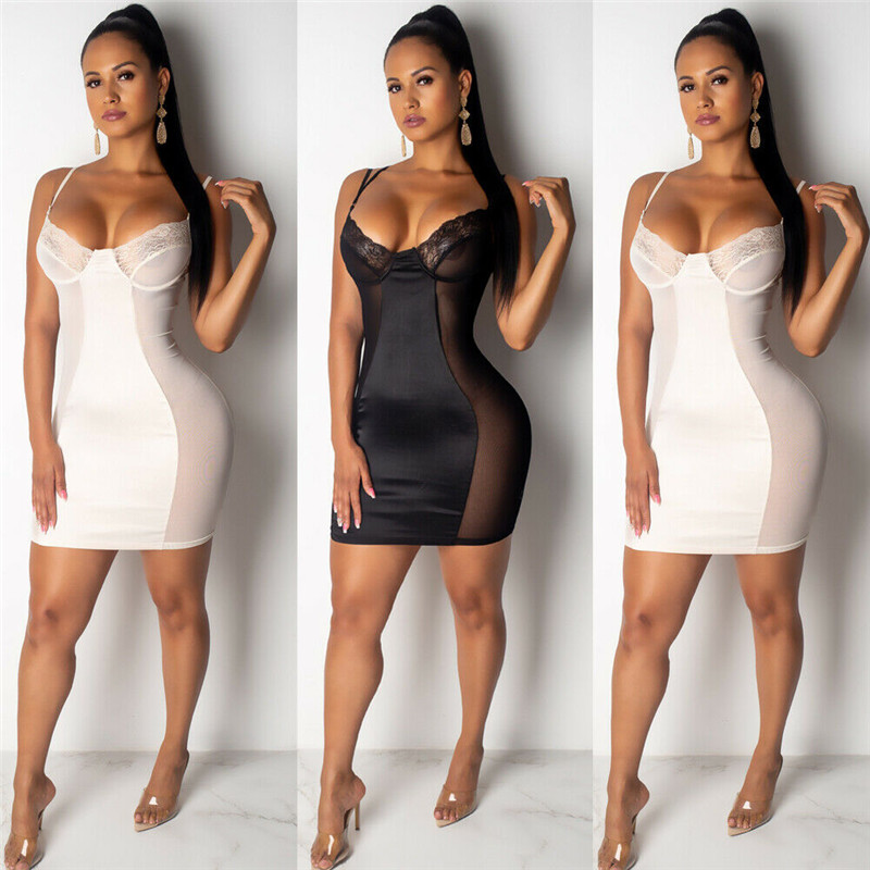 Women Bandage <font><b>Bodycon</b></font> Deep V-neck <font><b>Dress</b></font> Summer Strappy Lace Mesh Patchwork <font><b>Dresses</b></font> Women Wrap Slim Party Club <font><b>Dress</b></font> Vestidos image