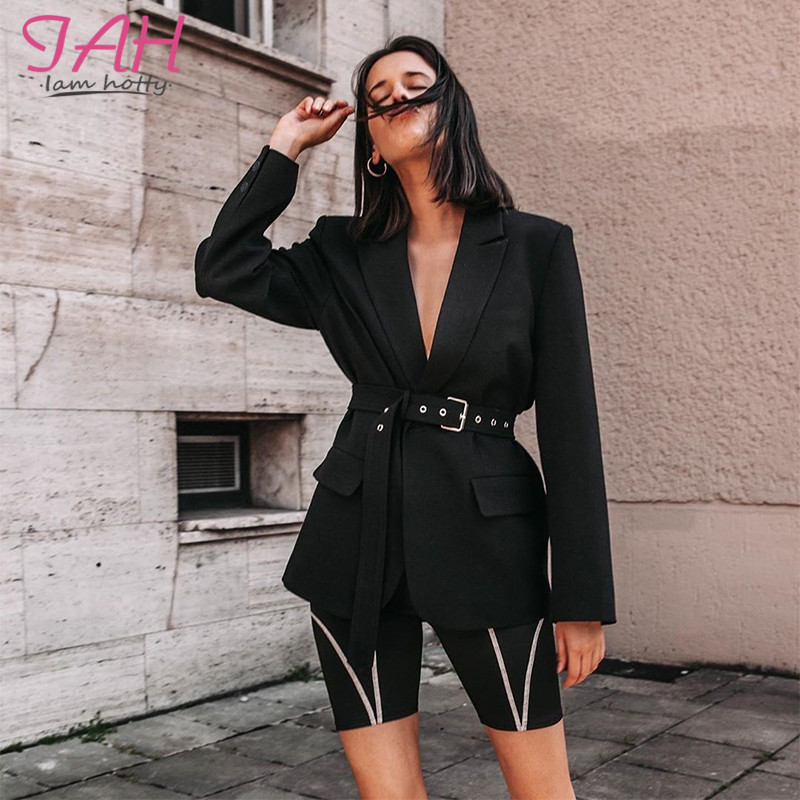 Iamhotty Belt Pocket Office Ladies Solid Blazer Long Sleeve Single Button Black Blazers Woman Suit Coat Jacket Blazer Plus Size
