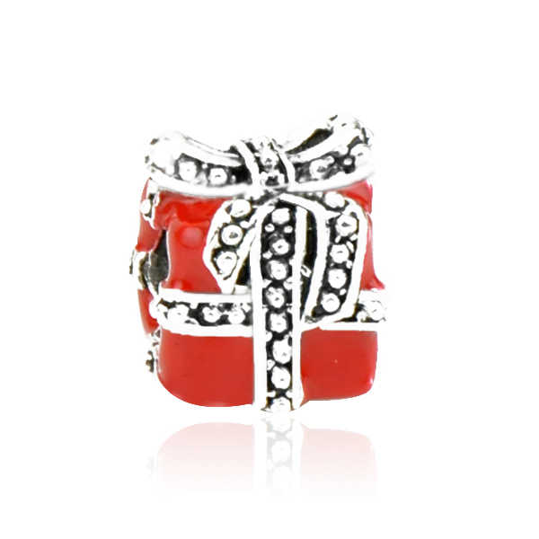 새로운 패션 에나멜 다채로운 눈사람 벨 선물 상자 호박 자동차 펜던트는 여성을위한 판도라 매력에 맞게 크리스마스 diy 쥬얼리
