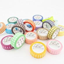 10pcs/Lot Decorative Green Blue Grey Pink Carrot Gingham Japanese Washi Tapes Set Bullet Journal Masking Tape Kawaii Stationery