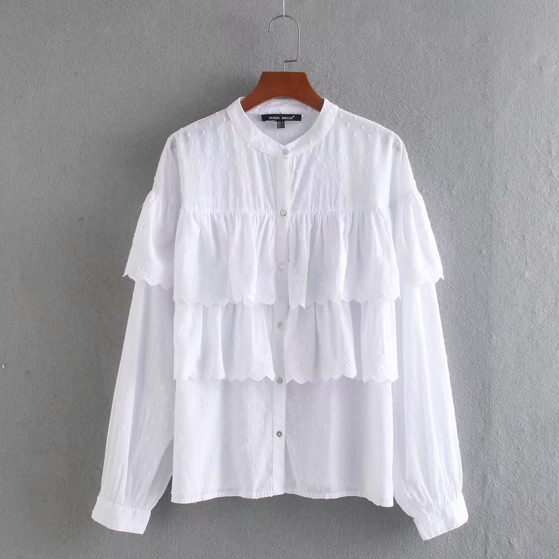 New Women Hollow Out Embroidery Ruffles Casual Smock Blouse Ladies Stand Collar Chic White Chemise Femininas Shirts Tops LS6384