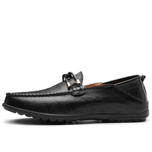 Genuine Leather Business Casual Shoes Men Black Non-slip Loafers Male Slip-on Breathable Moccasins Soft Comfortable Driving Shoe new summer genuine leather slip on shoes men casual breathable mesh shoes men loafers mens sneakers casual loafers men footwear