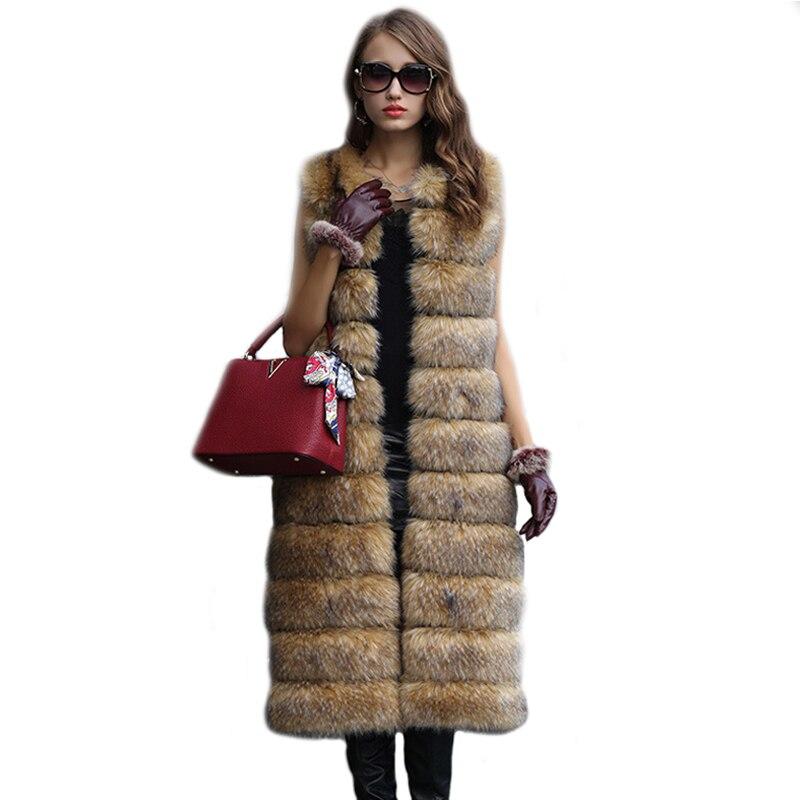 Zimní nová móda Dámská umělá kožešinová vesta Umělá kožešinová bunda Dlouhá bunda Vysoce imitace Mývalová vesta psí kožešiny PC224