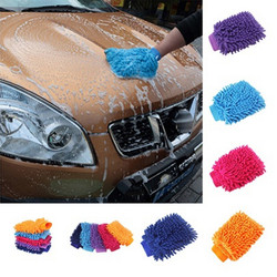 1pc 2 in 1 Ultrafine Fiber Chenille Microfiber Car Wash Glove Mitt Soft Mesh backing no scratch for Car Wash and Cleaning