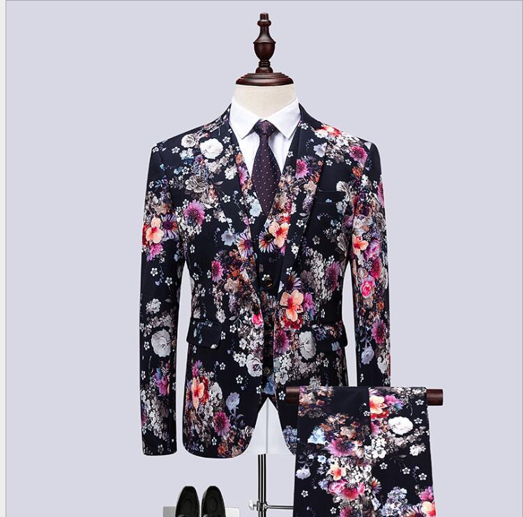 2019 осенние и зимние мужские модные костюмы с цветком, мужские свадебные смокинги с длинным рукавом, высокое качество, деловой костюм из 3 пре... - 2