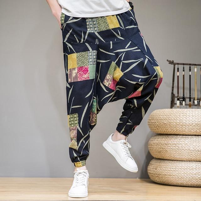 2020 homens verão outono bloomers masculino casual impresso solto algodão harem calças homens grande virilha calças homens hip hop baggy calças 1