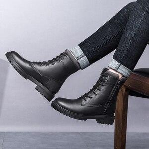 Image 5 - 2020秋冬メンズミリタリーブーツカジュアル本革の靴男性戦闘アーミーブーツ男雪のブーツビッグサイズ36 48