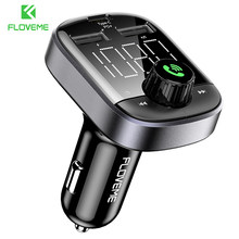 Cargador de coche FLOVEME PD3.0 para iPhone 11 LED cargador de telefono de coche usb carga rápida con transmisor FM Bluetooth 5,0 Kit de coche MP3 Play(China)