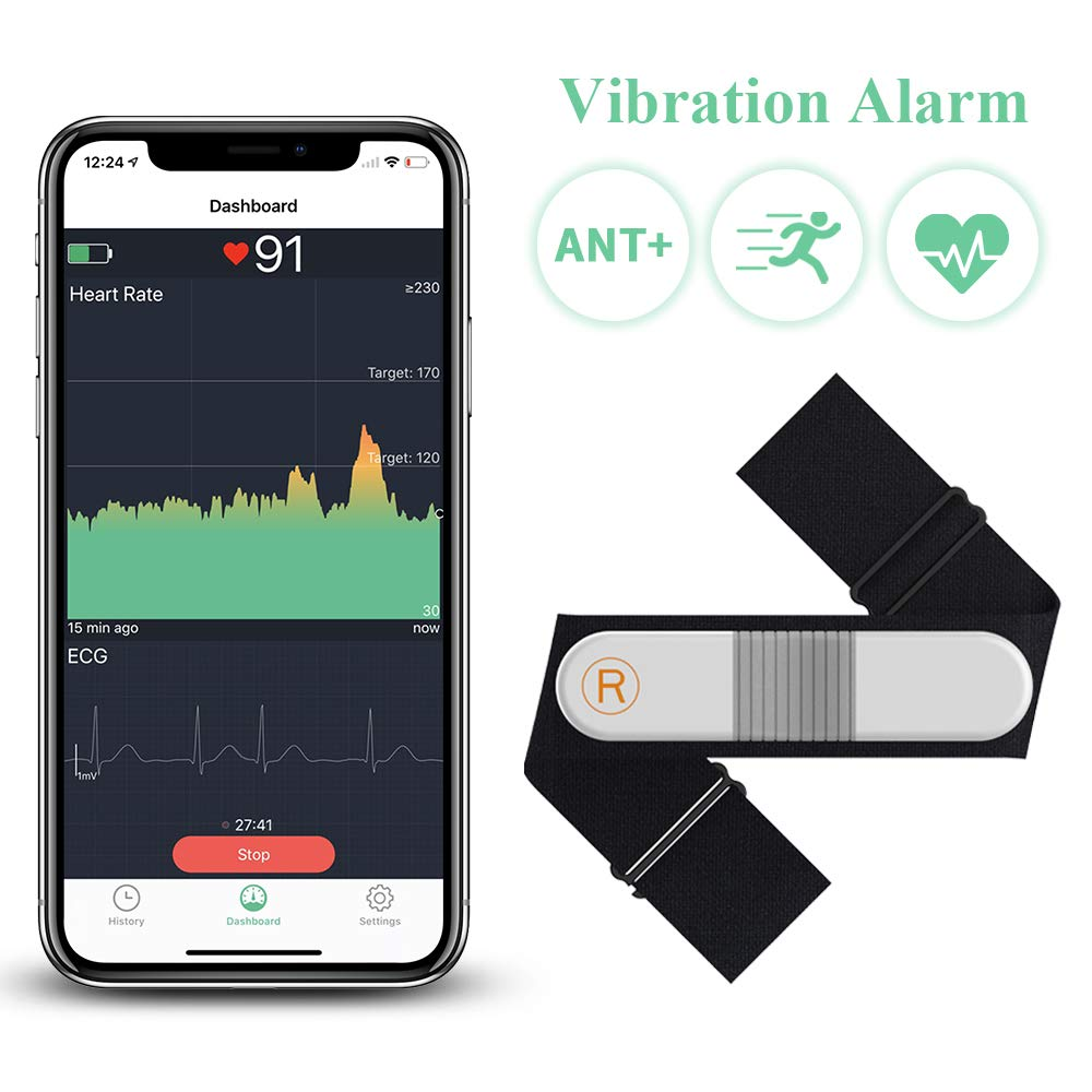 Bluetooth Heart Rate Monitor Chest Strap With Alarm, ANT+ Waterproof Fitness Tracker Wireless EKG/ECG Recorder Wellue VisualBeat