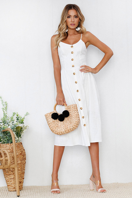 Fashion Sexy Women Sleeveless Backelss Summer Dress 2019 Black White Casual Dress Spaghetti Strap Dresses Button midi Sundress
