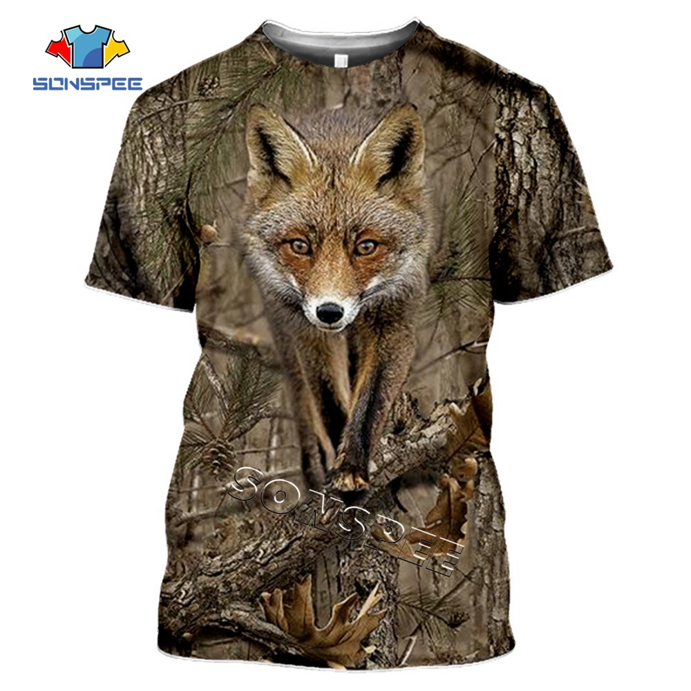 SONSPEE Camo Hunting Animals Fox 3D T-shirt Summer Casual Men's t shirts Fashion Streetwear Women Pullover Short sleeve Tee Tops