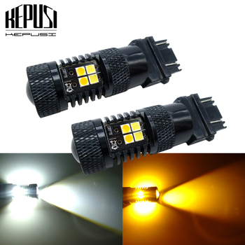 2x Amber/White Dual Color Switchback LED 3157 3757 Car Auto Parking Turn Signal Light Brake Lamp Tail Reverse Bulb 12v 24v 1xhigh power 1157 5630 20smd dual color type 2 switchback white amber yellow switchback led drl turn signal parking light bulbs